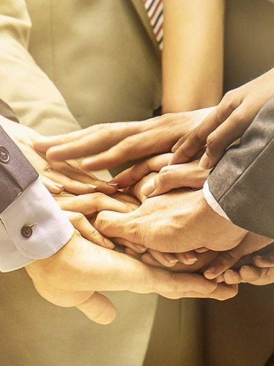Creative team meeting hands together synergy brainstorm business man woman, asian people teamwork acquisition, brainstorm business people concept. Startup friends creative people sale project panoramic banner